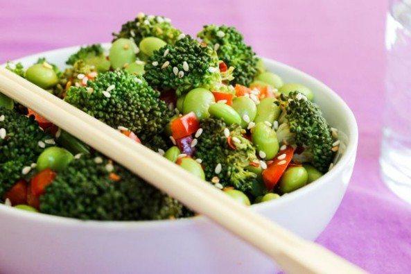 sesame broccoli and edamame