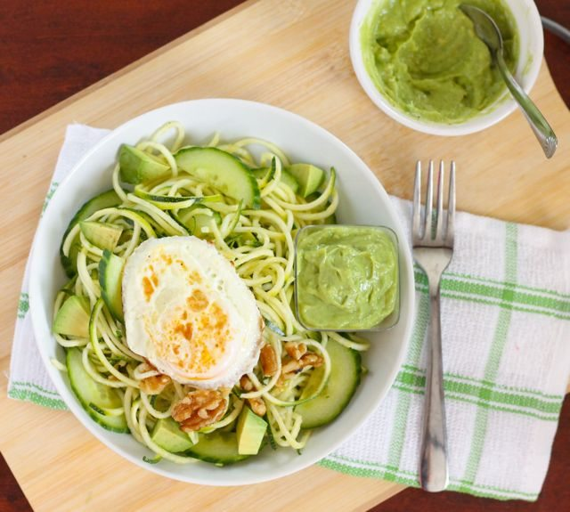 Zucchini Noodle Salad with Creamy Avocado Dressing - Eat Spin Run Repeat 5